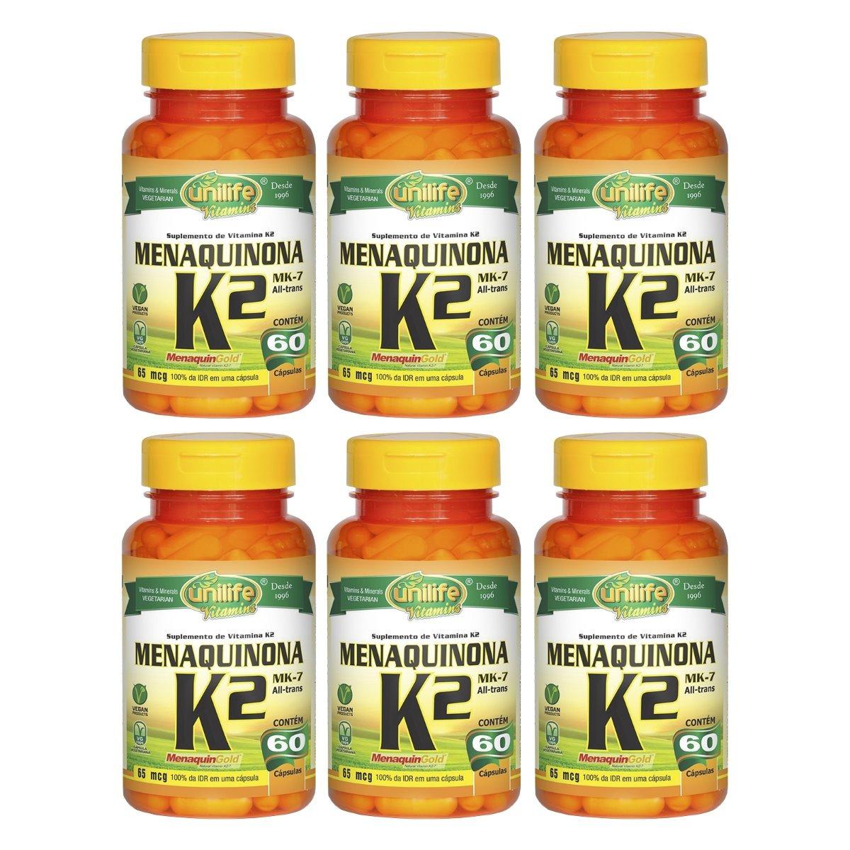 Vitamina K2 Menaquinona MK-7 60 Cápsulas Unilife Kit 6 Unidades