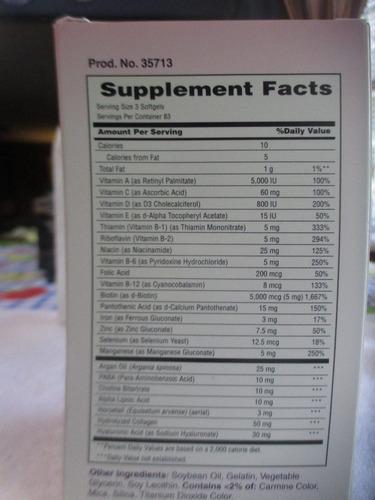 vitamina para unas, piel y unas marca natura's bounty de usa