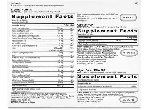 vitaminas gnc programa prenatal para mujer, 30 paquetes