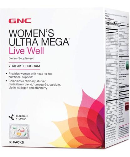vitaminas gnc womens ultra mega live well vitapak 30 paks