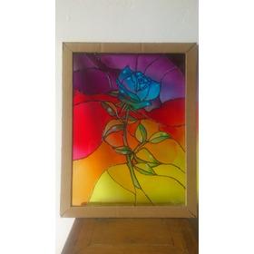 Vitral De Rosa Ancho 27cm Largo 35cm