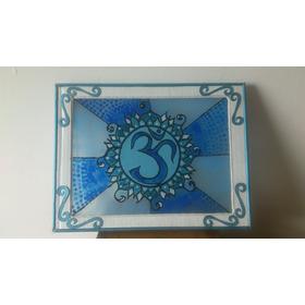 Vitral Mandala Om Color Azul 37cm Ancho X 28cm Largo