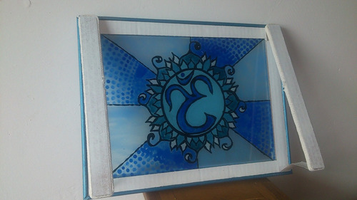 vitral mandala om color azul 37cm ancho x 28cm largo