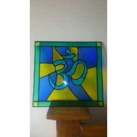Vitral Para Buro Om Color Verde Azul Ancho 41cm X Largo 39cm