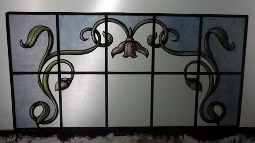vitreaux  pintado a fuego banderola  0,61 x 0,30