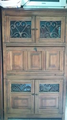 vitrina bar de madera usada