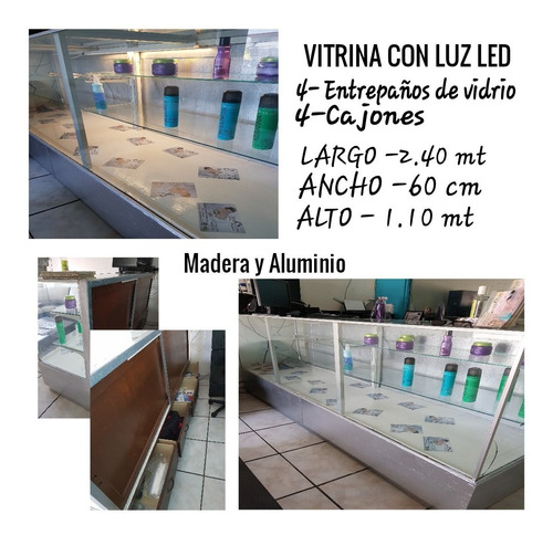 vitrina con luz led