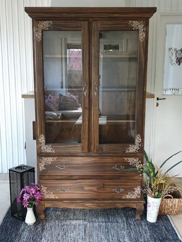 vitrina cristalero provenzal luis xv vintage shabby antiguo