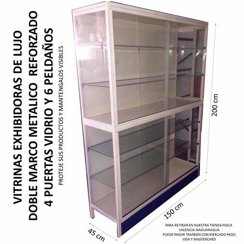 vitrina estante exhibidor lujo 2 niveles doble marco metal