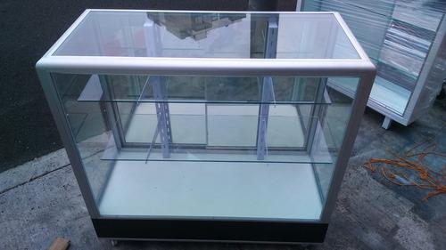 vitrina exhibidora mostrador metálicos de aluminio 1m
