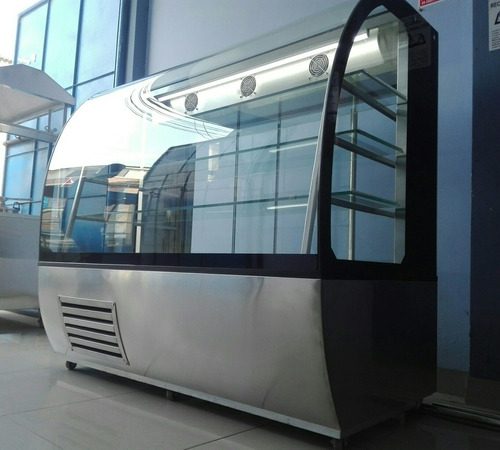 vitrina exhibidora premium de acero inoxidable - campera pro