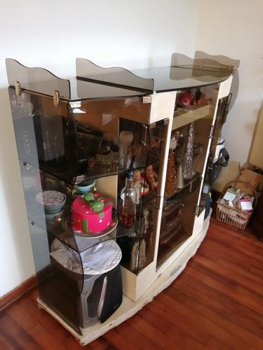 vitrina madera y vidrio grande para bar y adornos
