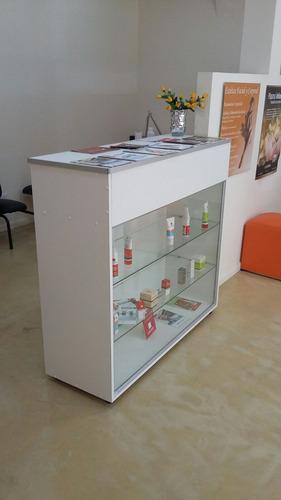 vitrina mostrador -vidrio -melamina estantes cajon con llave