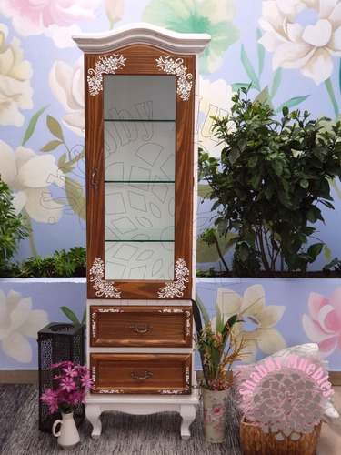 vitrina provenzal con estantes vidrio luis xv shabby antiguo
