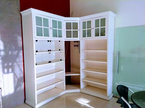 vitrina trinchador librero esquinero madera tipo ralph laure
