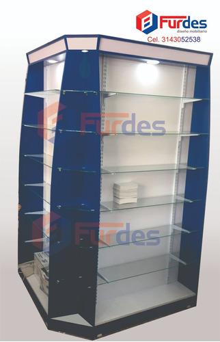vitrinas puntos de pago góndolas muebles para droguería