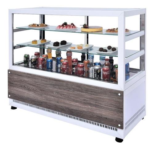 vitrine balcão refrigerado confeitaria 1,4 mt- omega com led