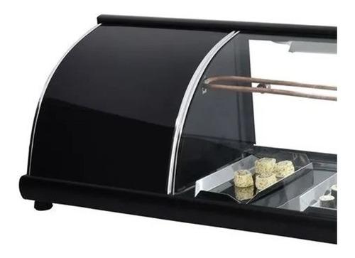 vitrine para sushi bar c/ led - omega - linha luxo 1,30 mt