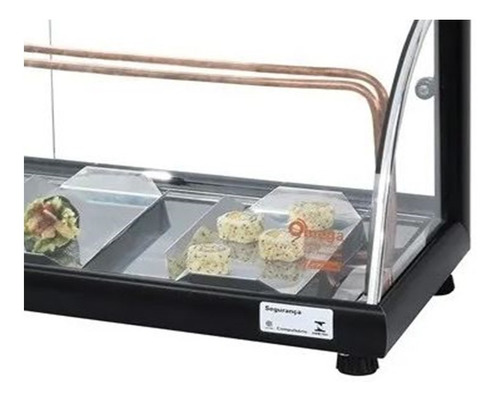 vitrine sushi - marca omega - l. luxo vidro curvo 1,30 mt