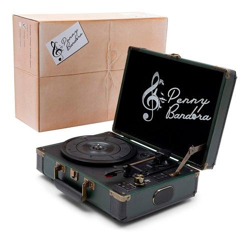 vitrola portátil toca discos vinil grava usb retrô bluetooth usb bivolt penny bandora bateria maleta cor verde