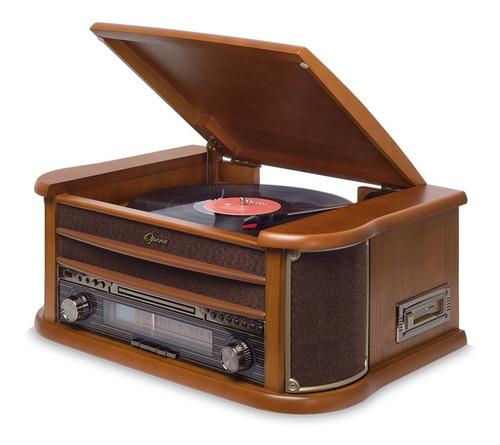 vitrola raveo ópera bt toca-discos cd bluetooth fita cassete