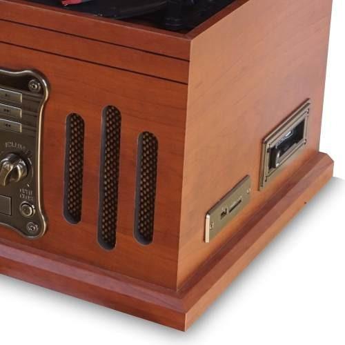 vitrola raveo stadio toca-discos cd bluetooth radio usb k7