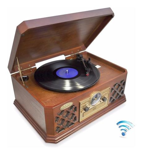 vitrola retrô, bluetooth, cd player, aux, cassete, cd