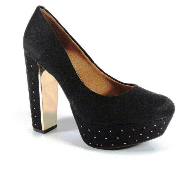 buscar auténtico códigos de cupón precio baratas Vizzano Taco Palo Stilletos Zapatos Plataforma Negro.