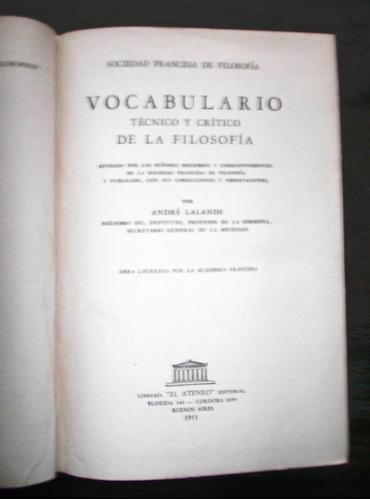 vocabulario técnico y critico de la filosofía. a lalande