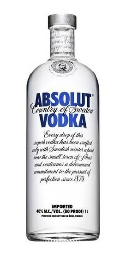 vodka absolut 750 ml. regular blue