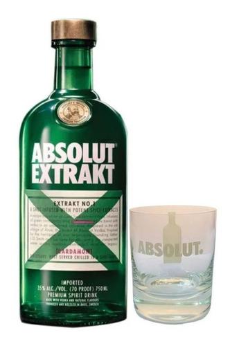 vodka absolut extrakt 750ml + vaso ed limitada