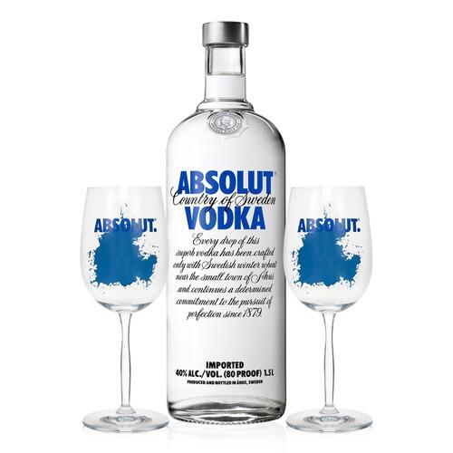 vodka absolut original 1,5l + 2 taças de vidro