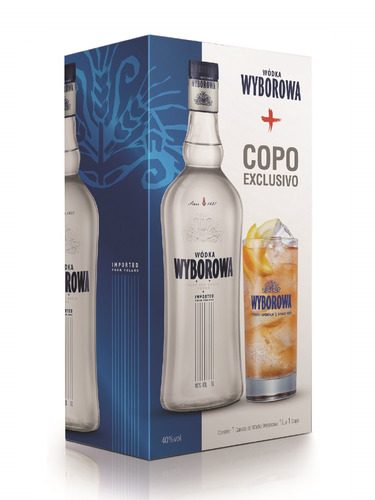 vodka wyborowa 1l pack com copo