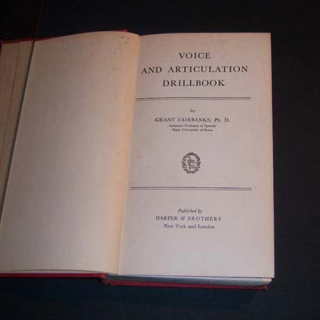 voice and articulation drillbook. grant fairbanks