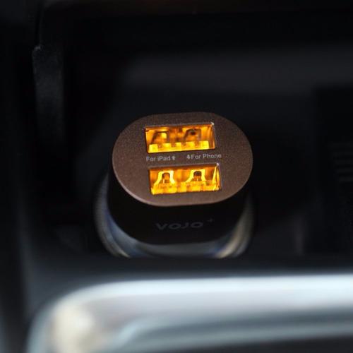 vojo dual usb cargador de coche [brown], 3.1a 2.4a 2 puerto