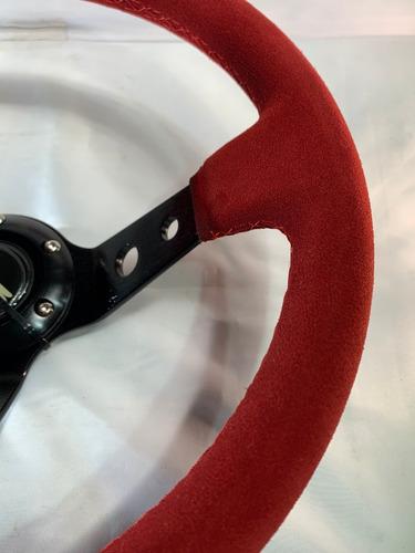 volante deportivo tuning curvo gamuza rojo calidad g460