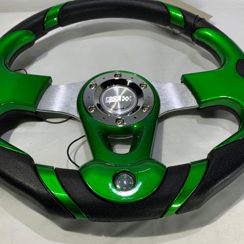 volante deportivo tuning racing auto brujula verde vdv32-2