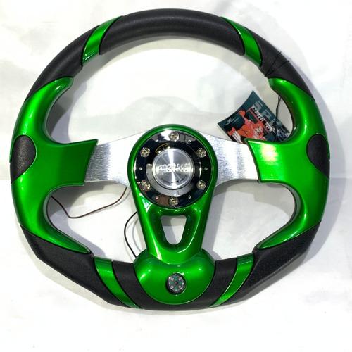 volante deportivo tuning racing auto brujula verde vdv32-6