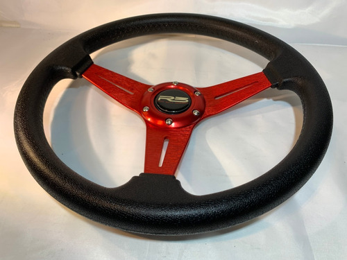 volante deportivo tuning racing rojo + masa extraible r101-2
