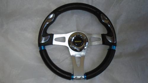 volante deportivo universal, cromo y fibra de carbono