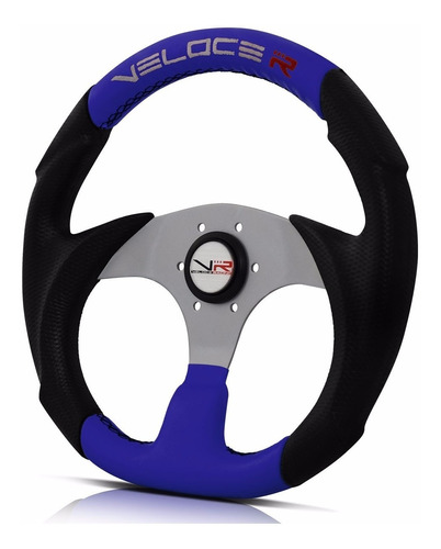 volante esportivo azul com centro prata veloce racing