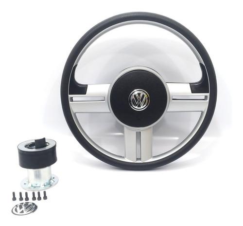 volante rallye buggy prata universal com cubo c/brinde