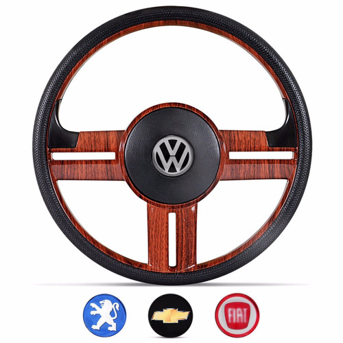 volante rallye madeira emblemas vw gm fiat peugeot universal