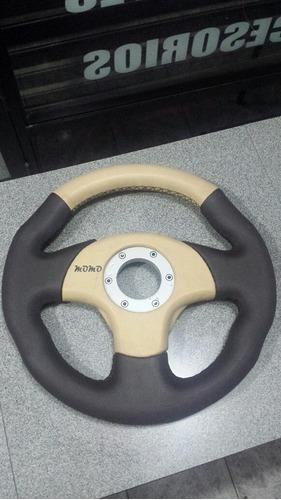 volante tuning marrón/beige