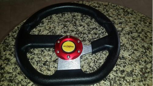volante universal deportivo tunning negro y rojo
