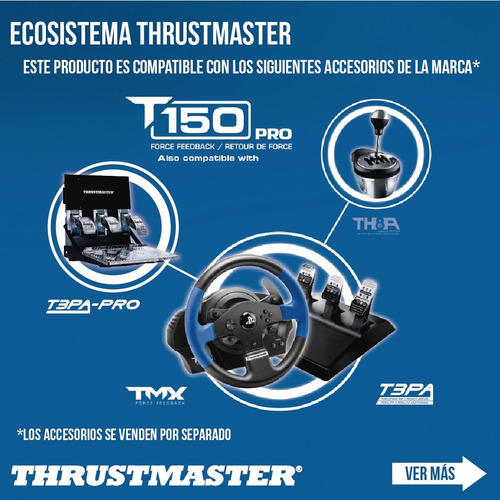 volante y pedales x3 pc ps4 ps3 thrustmaster t150 rs pro