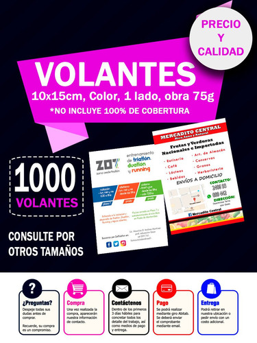 volantes folletos color $799 10x15cm