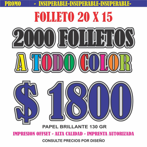 volantes folletos  papel brillo  full color