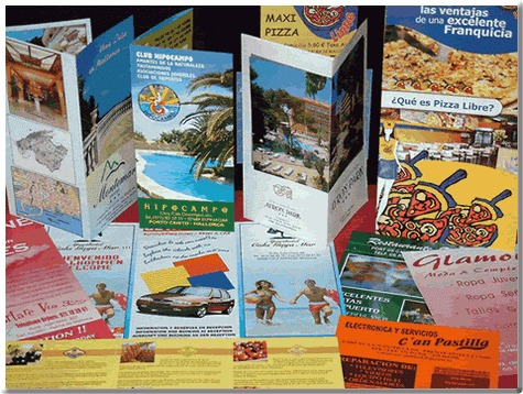 volantes, tarjetas, banners, folletos, impresos.