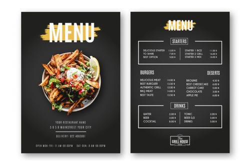 volantes, tarjetas de presentación, portadas, posters, menú